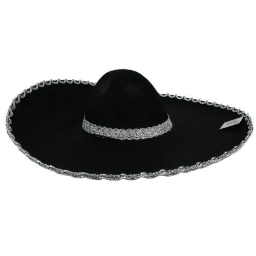 ADULTS SOMBRERO BLACK FELT WITH SILVER TRIM MEXICAN FIESTA PARTY FANCY DRESS