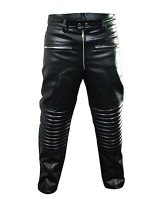 Men/'s Biker Jeans Real Black Cow Leather One Panel Police Style pants Trousers