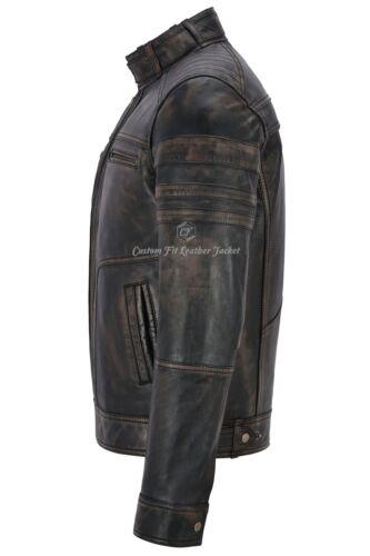 Vintage Jacket Brave Men Black Action Italian Biker 1106 Leather Retro qCOOEwa