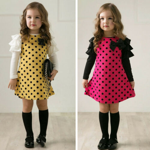 Girls Kid Long Sleeve Princess Dress Outfit Party School Casual Clothe 2-9 Years