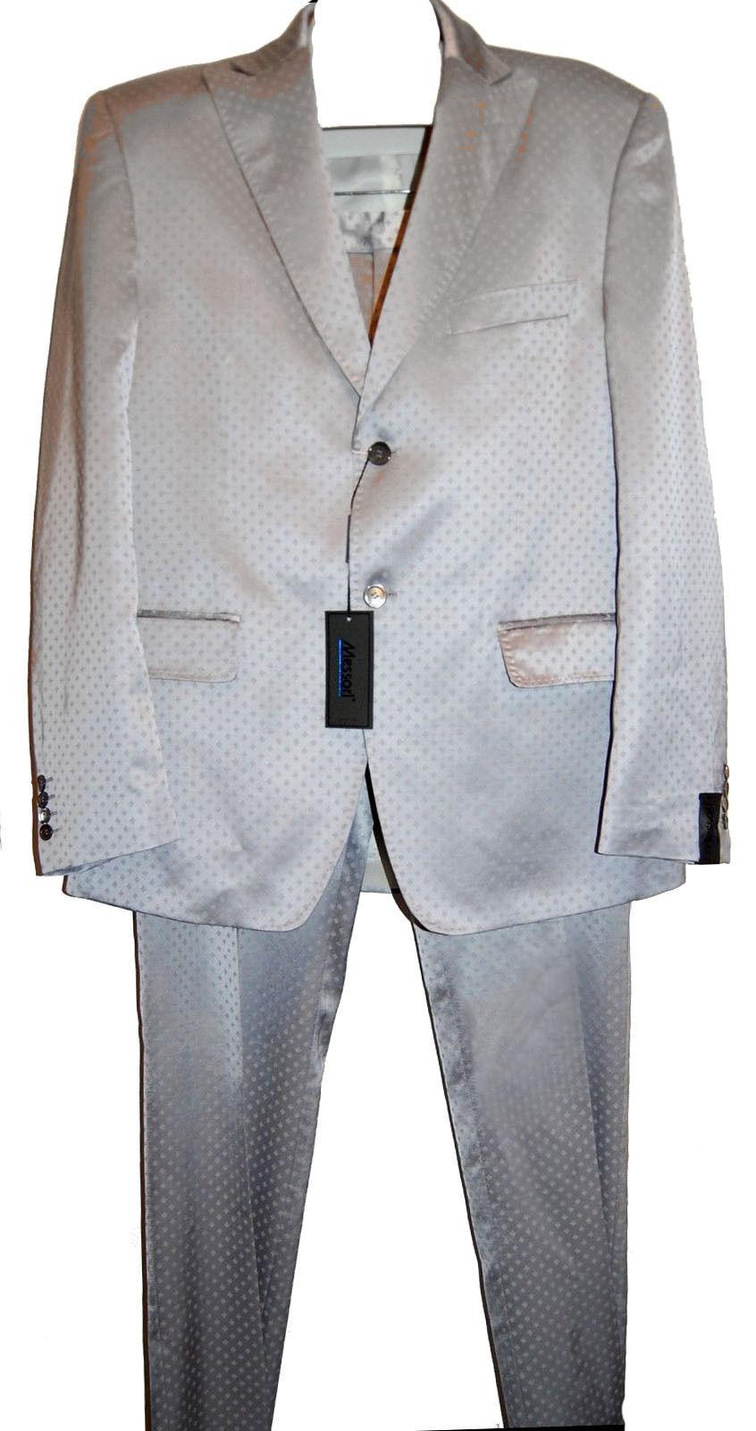 Messori Light grau Satin  Herren Dress Suit Blazer Pants  Größe US 46 EU 56 NEW