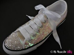 Converse All Star WHITE size 7 IRIDESCENT Sequin with Swarovski ... a78a3a096
