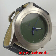 heavy 52mm parnis green sterile dial big face Full chronograph quartz mens watch