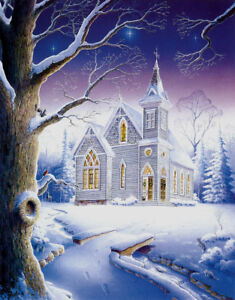 Image Is Loading Christmas Snow Country Church Chapel Matted Hand Signed