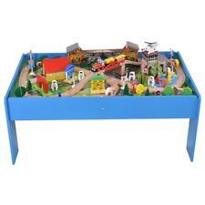 108pcs Kids Wood Toy Train Set Railway Children Table Play Track Compatible