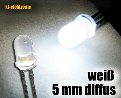 200 Stück LED 5mm weiß matt//diffus ultrahell 16000mcd