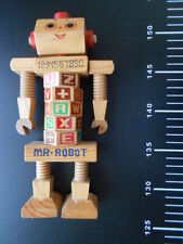 Vintage 1980s Wood Robot Educational Toy
