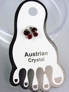ADORABLE-Garnet-Red-Austrian-Crystal-BUTTERFLY-Invisible-PETITE-Toe-Ring