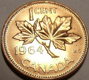 Gem Uncirculated Canada 1964 Maple Leaf Cent~Queen Eliz