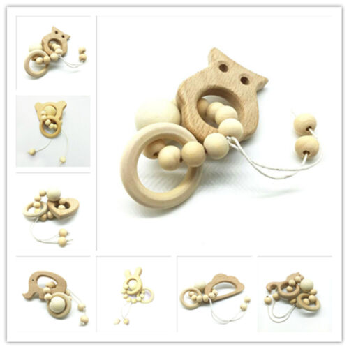 1pcs Natural wood Safety Wooden Teether animal shape Beaded Baby Molar Stick