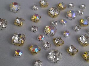 CraftbuddyUS 50pc 8mm SewOn Silver Set Clear Diamante Rhinestone Craft Dress DIY