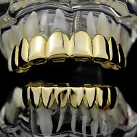 Best Grillz 8/8 Set Eight Top 8 Bottom Tooth Grill 14k Gold Plated Hip Hop Teeth