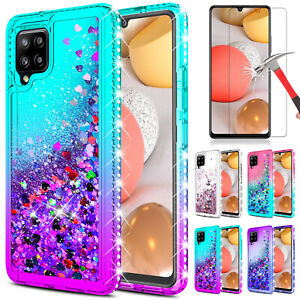 For Samsung Galaxy A42 5G Phone Case Liquid Bling Cover / Glass Screen Protector