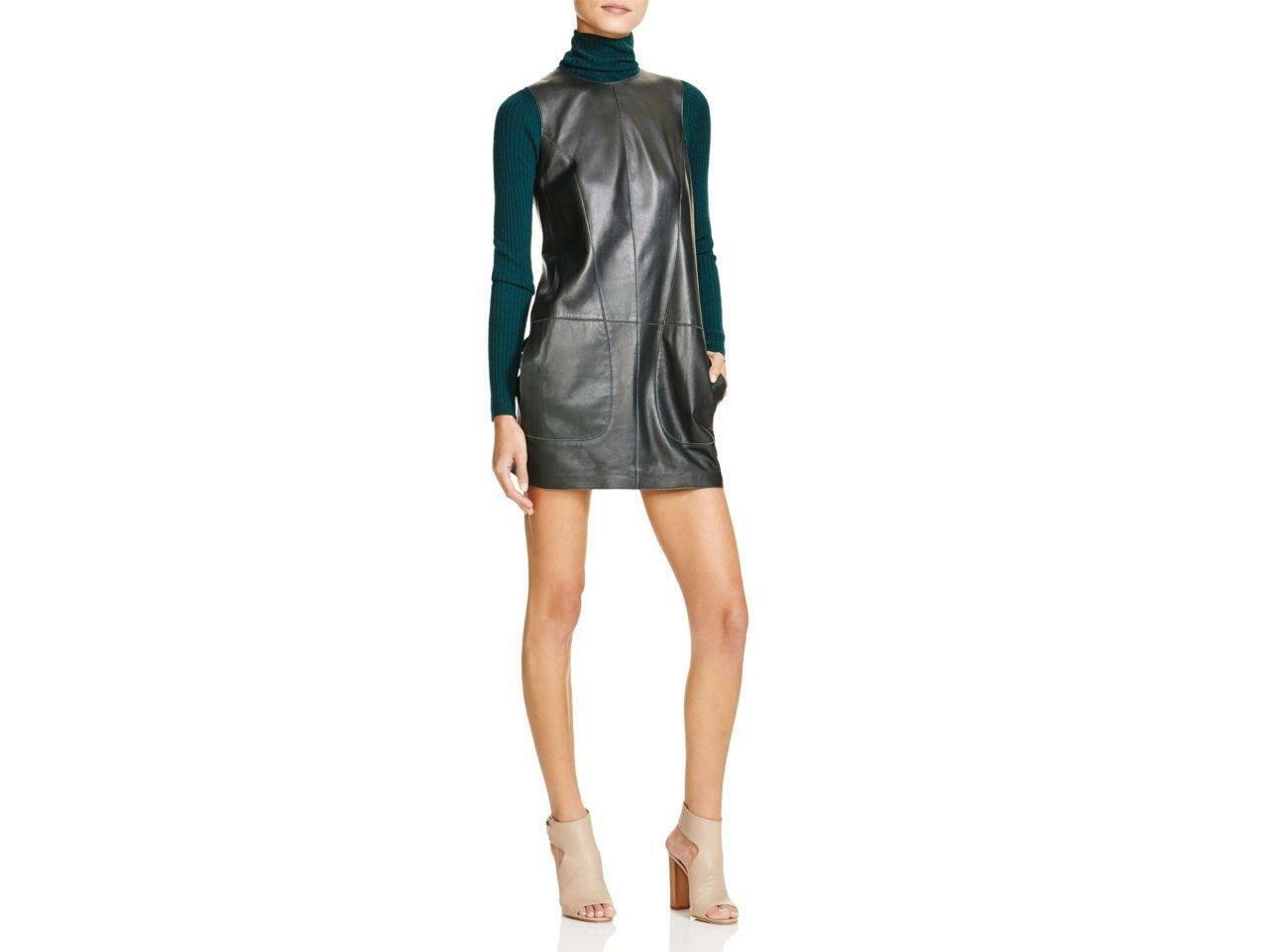 Vince Pine Green Leather Shift S L Dress  NWT 8 Bloomingdale's Exclusive
