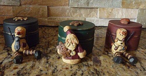 Snowman Santa Trinket box Resin Farmhouse Fall Primitive Country Christmas