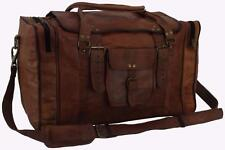 "21""x12x10 Mens Vtg Genuine Leather Flap Duffel Carry On Weekender Cabin Gym Bag"