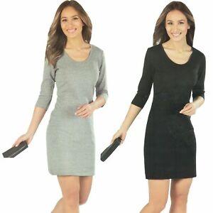 3-4-Kleid-Damen-Etuikleid-elegant-tailliert-figurbetont-schick-Sommer-Ubergang