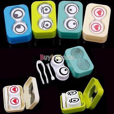 Mini Travel Cute Cartoon Eyes Shape Contact Lens Case Box Container Holder BIUS
