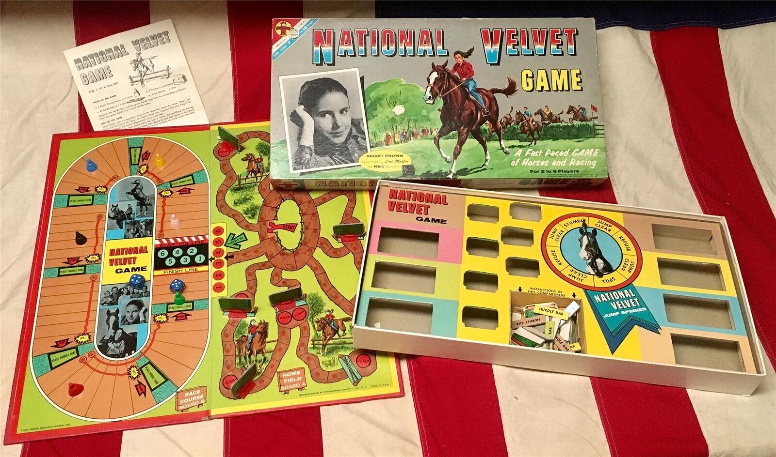 Vintage NATIONAL 1961 velours Board Game Horse Racing Metro orwyn Mayer TV Show