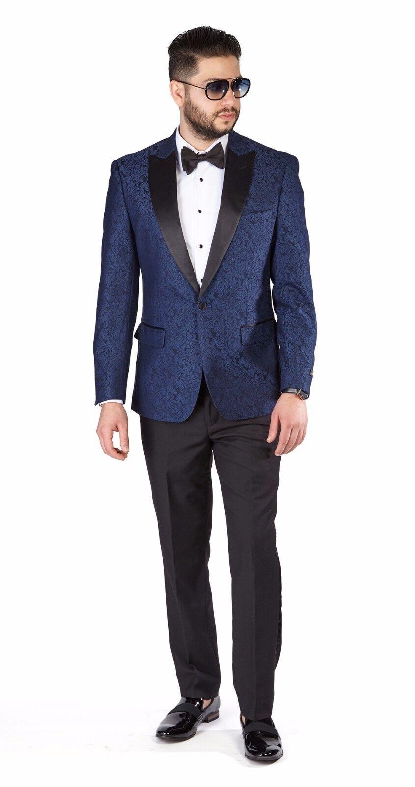 Tuxedo Blue Paisley Peak Lapel Jacket Slim Fit 1 Button Black Pants 1778 AZAR