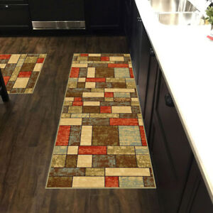 Custom-Size-Stair-Hallway-Runner-Rug-Rubber-Back-Non-Skid-Multicolor-Tiles