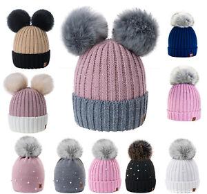 b1f505a5e3f35f Kids Children Knitted Beanie Hat Hats Cap Winter Worm Girls Boys 2 ...