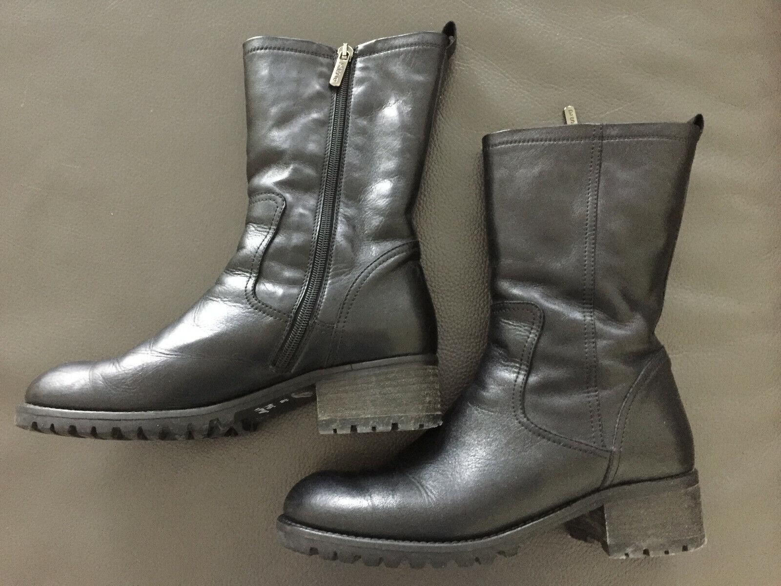 XSA Damen Stiefel, Stiefel, Stiefelette, Schuhe, Größe 38, schwarz, Leder