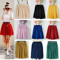 Women Ladies High Waist Pleated Double Layer Chiffon Short Mini Skirts Dress
