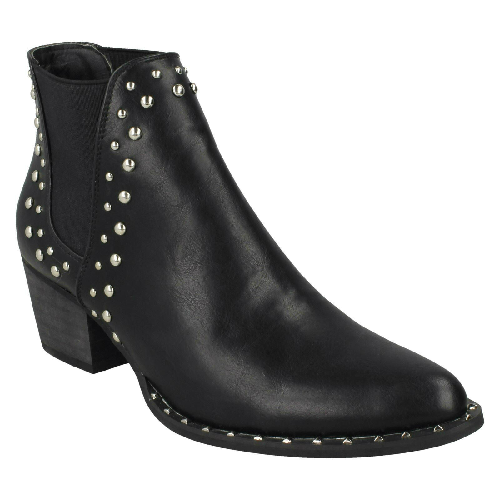 SPOT ON F5R0946 POINTED TOE CASUAL WARM WINTER LADIES CHELSEA SMART ANKLE BOOTS