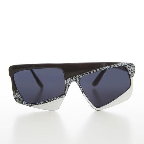 80s Asymmetrical Crazy Vintage Sunglass Black / Wh