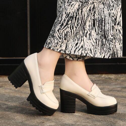 Womens Platform High Block Heel Pumps Slip on Mary Jane Oxfords Plus Size Shoes