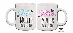 Paartassen-Mr-amp-Mrs-Hochzeitsdatum-mit-Wunschname-Ehe-Liebe-Hochzeitstag