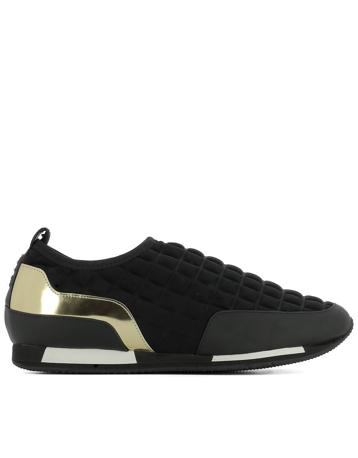SZ 36 BALMAIN LOW TOP SLIP ON BLACK AND gold MAYA TRAINERS