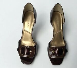 Tahari-Pump-Brown-Patent-Leather-Buckle-Peep-Toe-Gold-Heel-Shoes-Womens-Size-7-5