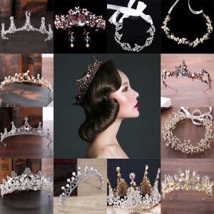 Fashion Women Baroque Crystal Pearl Bride Tiara Crown Hairband Wedding Jewelry