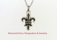 Black and Silver Fleur De Lis Pendant Cremation Jewelry Keepsake Urn Necklace
