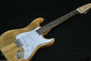 NEW-NATURAL-ADVANCED-12-STRING-STRAT-STYLE-ELECTRIC-GUITAR-WITH-PADDED-GIG-BAG