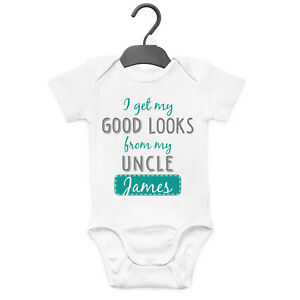 MY UNCLE LOVES ME PERSONALISED BABY GROW VEST CUSTOM FUNNY GIFT CUTE