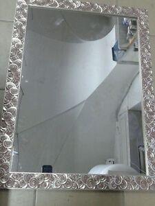 specchio specchiera bellissima cornice legno argento chiocciola mis ...
