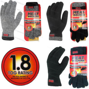 Mens Adults Knitted 1.8 Tog Double Insulated Thermal Winter Gloves