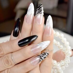 Initiative Stiletto False Nails Coffin False Nails White Clear French Nail Glitter Acrylic In Short Supply Nail Care, Manicure & Pedicure
