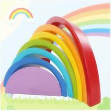 7 Colors Wooden Stacking Rainbow Shape Child Kids Educational Toy Christmas Gift