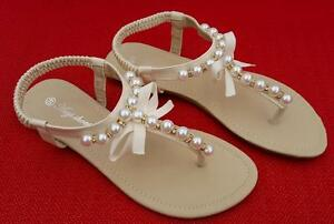 43930a371457b Image is loading WOMENS-Sz-5-Pearl-BEAD-Thong-SANDALS-Flats-