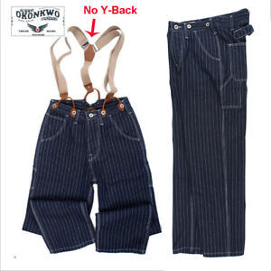 Okonkwo-13-5OZ-amekaji-MOTORCYCLE-Bib-Pantaloni-a-Righe-Jeans-Loose-ferroviario-XL