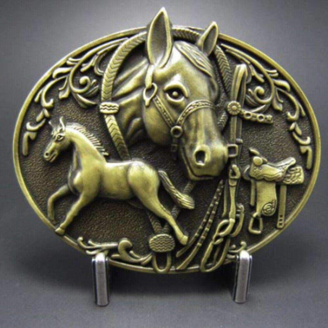 Buckle Ponyhof, Western, Cowboy, Pferd, Messing, Gürtelschnalle