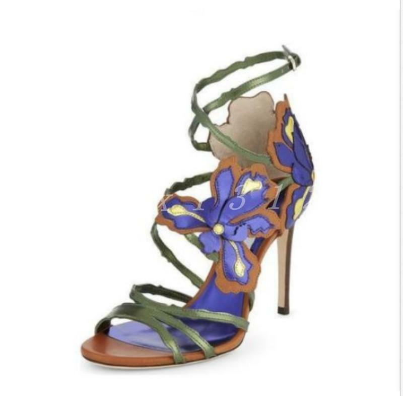 New Ladies Women High Heel Floral Open Toe Rhinestone Multicolor Shoes Sandals