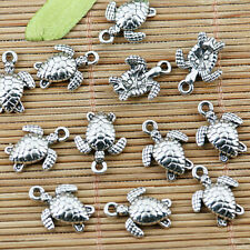 12Pc Tibetan Silver Tone Blue Turquoise Oval Rose Flower Charms Pendants 23x32mm