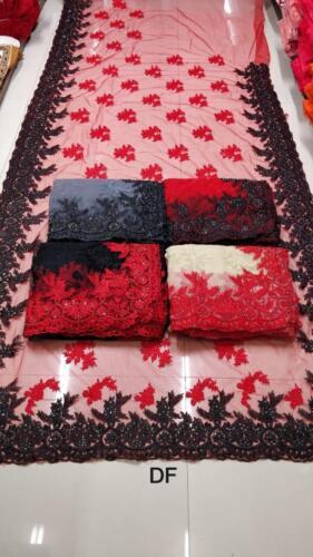 da Look Abiti etnico feste indiano Sf tradizionale Sari Rosso nero crema grigio per cerimonia Ricamo Lavorazione Rdqxwq4TI