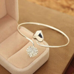Fashion-Love-Heart-Crystal-Women-Silver-Plated-Bangle-Bracelet-Gift-Jewelry