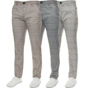 Hombre Corte Slim A Cuadros Pantalones Formal Estilo Oficina Trabajo Vestido De Ebay